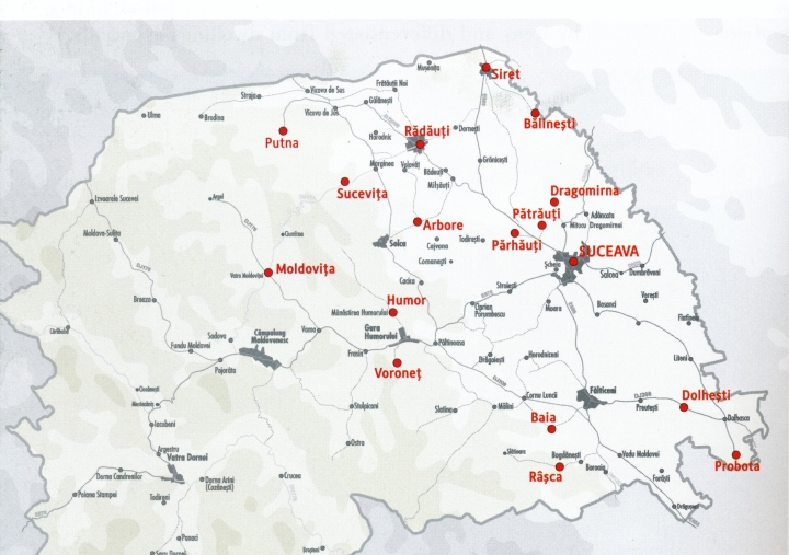 Location of Medieval Monuments of Bukovina