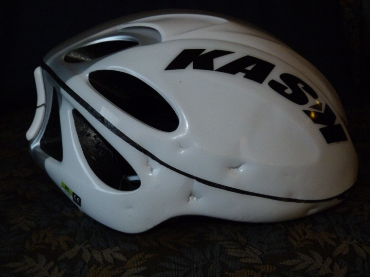 My Kask Helmet showing what would have been my head injuries if I had not been wearing it. Can I have a new one please Kask?