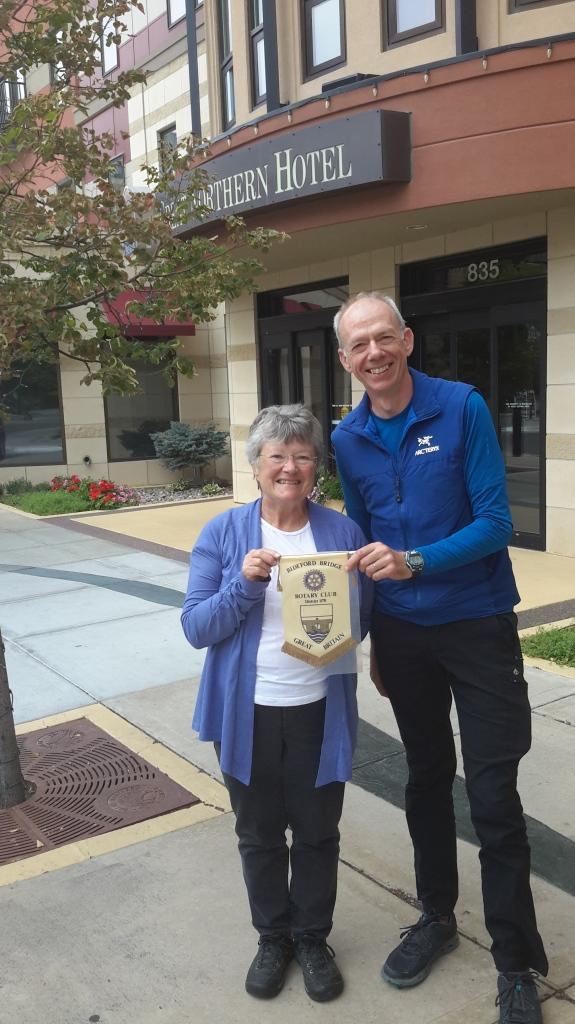 Bernie with Ellen Faversham, the ex-president of Helegance Rotary Club