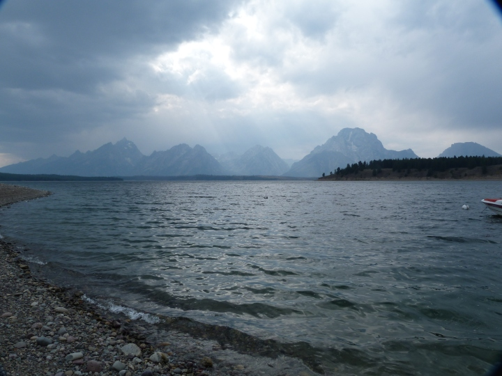 The rain coming in over the Tetons