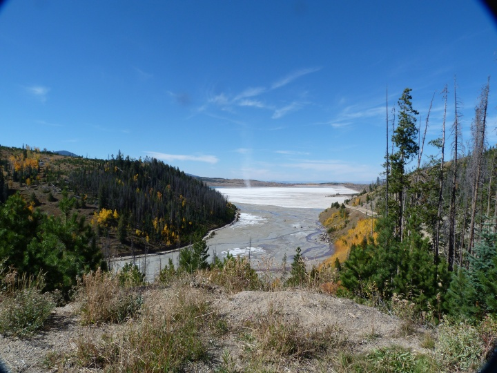 But also some mining areas. This new lake may look lovely but it is the spoil run off from the mine.