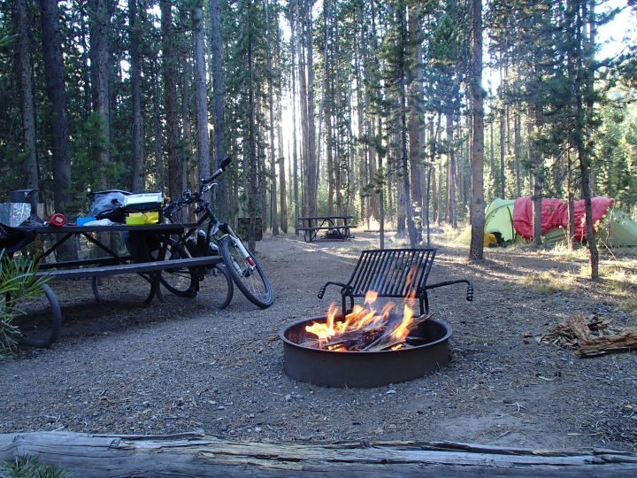 Despite a large forest fire a few miles away in East Yellowstone we were allowed camp fires in West Yellowstone. We had not been allowed a campfire since leaving Banff in Canada.