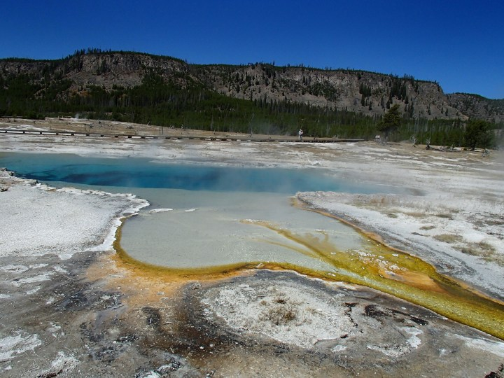 There were a lot of colourful steaming areas such as this one at the Prismatic Springs