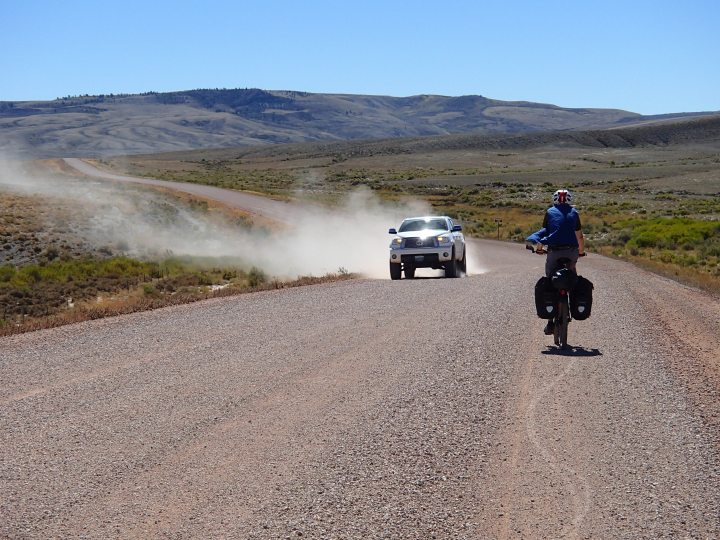 We were now back on the Great Divide gravel tracks. Sometimes we were glad of the Wyoming wind as these pickups never slow down to reduce the dust and stones they through up, unlike Australian drivers on our previous trips who were always very considerate.